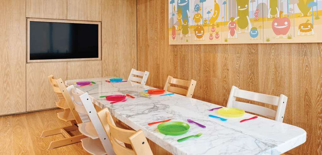 SPRING Kitchen Marble dining table children work bench Children's Cooking@SPRING classroom class Nutrition Discovery